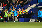 Forest Green Rovers manager, Mark Cooper during the Vanarama National League match between Tranmere Rovers and Forest Green Rovers at Prenton Park, Birkenhead, England on 11 April 2017. Photo by Shane Healey.