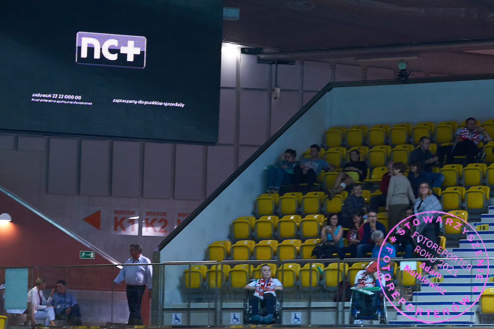 NC+ TV broadcast advertise on display board during Davis Cup Tie World Group Play-off Poland v Slovakia at Gdynia Arena Hall in Gdynia, Poland.<br /> <br /> Poland, Gdynia, September 18, 2015<br /> <br /> Picture also available in RAW (NEF) or TIFF format on special request.<br /> <br /> For editorial use only. Any commercial or promotional use requires permission.<br /> <br /> Adam Nurkiewicz declares that he has no rights to the image of people at the photographs of his authorship.<br /> <br /> Mandatory credit:<br /> Photo by &copy; Adam Nurkiewicz / Mediasport