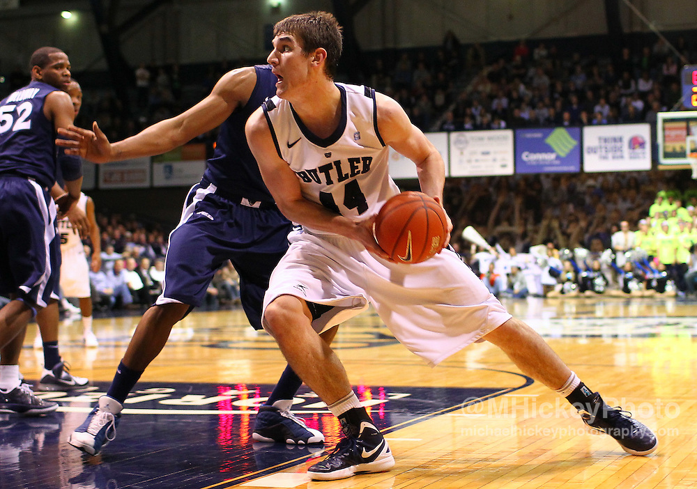 Dec. 07, 2011; Indianapolis, IN, USA; Butler Bulldogs center Andrew Smith (44) drives to the basket against the Xavier Musketeers at Hinkle Fieldhouse. Mandatory credit: Michael Hickey-US PRESSWIRE