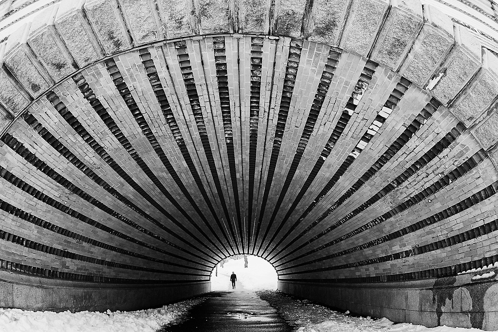 Fish eye view of tunnel in central park. NYC 2011
