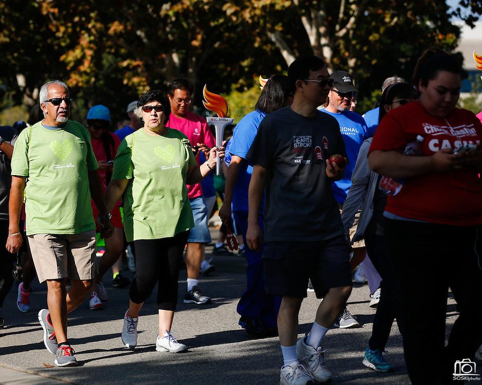 More than 4,000 participants walk during the 2014 Silicon Valley Heart & Stroke Walk at KLA-Tencor in Milpitas, California, on October 11, 2014. (Stan Olszewski/SOSKIphoto)