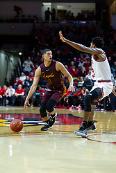 NORMAL, IL - January 19: Lucas Williamson looks for a way past defender Jaycee Hillsman during a college basketball game between the ISU Redbirds and the Loyola University Chicago Ramblers on January 19 2020 at Redbird Arena in Normal, IL. (Photo by Alan Look)