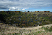 This is a view from Orongo Village down into the crater lake of the Rano Kau volcano, on Easter Island's south-west coast