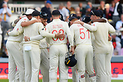 The England players huddle before taking to the field during the International Test Match 2019 match between England and Australia at Lord's Cricket Ground, St John's Wood, United Kingdom on 15 August 2019.