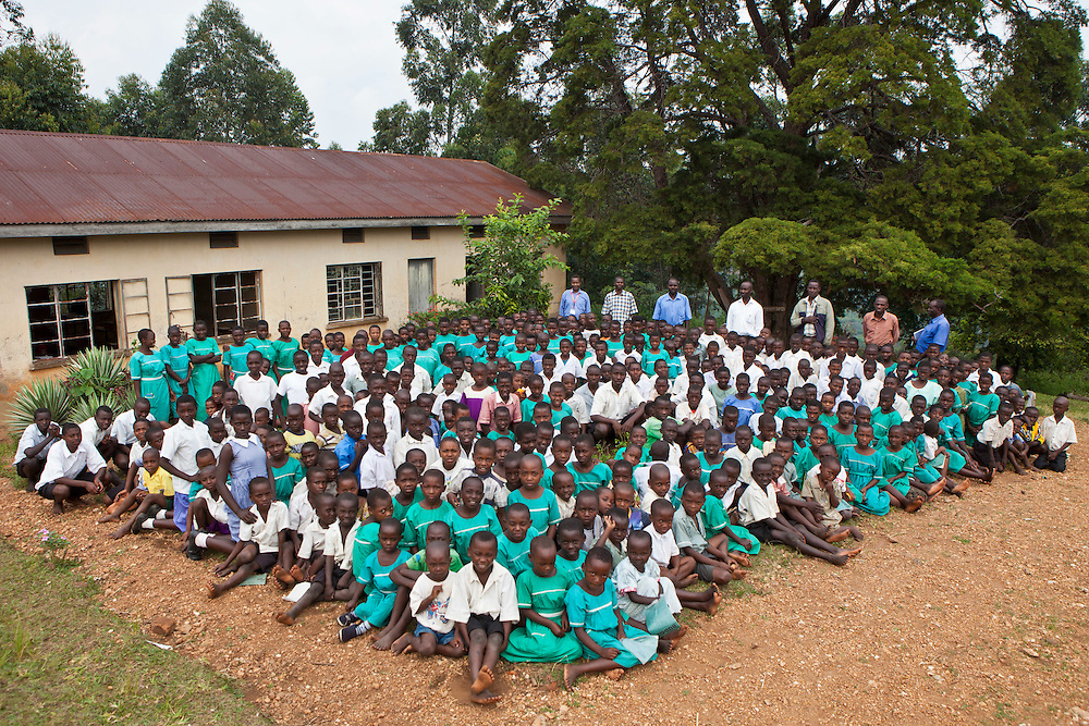 All the school children at Nyamiyaga Primary School. At the school the Bwindi Community Hospital run health outreach programs. As part of the outreach programme they cover 32 primary schools and 5 secondary schools in the region as well as many communities. The main Bwindi Community Hospital is in Buhoma village on the edge of the Bwindi Impenetrable Forest in Western Uganda. It serves around 250,000 people from the surrounding area.