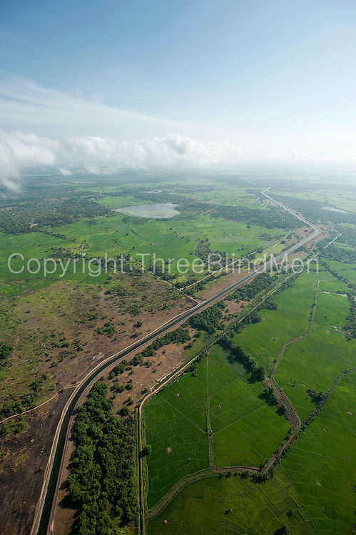 Aerial view of canal from The Mahaweli scheme.