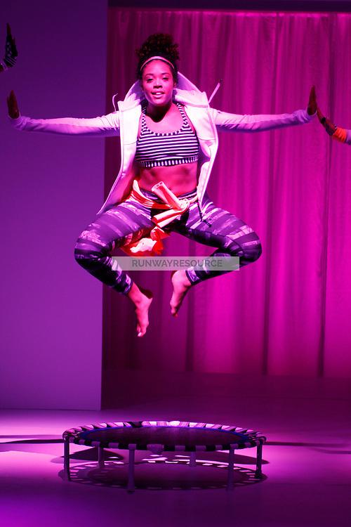 A model dances wearing Athleta Spring 2015 during Mecedes-Benz Fashion Week in New York on September 3rd, 2014