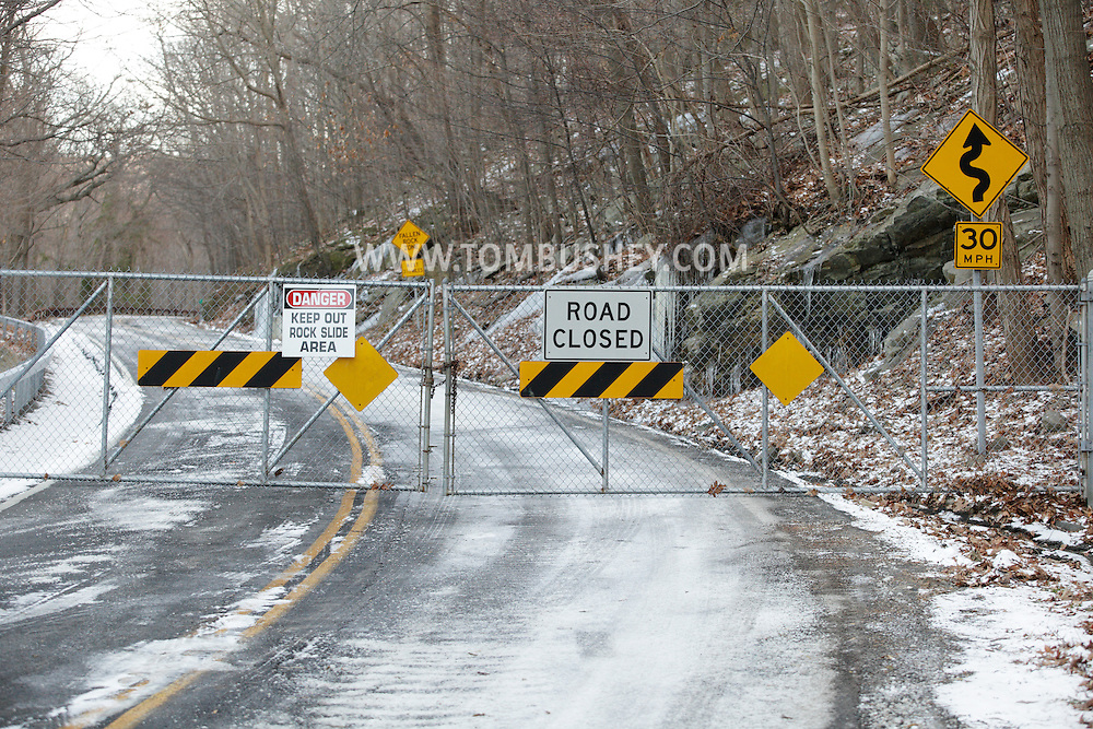 Cornwall-on-Hudson, New York - A closed gate blocks motorist from using Route 218, also known as Storm King Highway, on Dec. 16, 2010. The road, which runs along the side of Storm King Mountain, was closed because of the danger of rock slides.