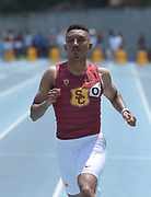 Alexander Barnum of Southern California wins the 100m in 10.29 during a collegiate dual meet against UCLA at Drake Stadium in Los Angeles, Sunday, April 29, 2018.