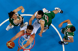 Marc Gasol of Spain vs Erazem Lorbek of Slovenia, Mirza Begic of Slovenia and Goran Dragic of Slovenia during basketball game between National basketball teams of Spain and Slovenia at Quarterfinals of FIBA Europe Eurobasket Lithuania 2011, on September 14, 2011, in Arena Zalgirio, Kaunas, Lithuania. Spain defeated Slovenia 86-64. (Photo by Vid Ponikvar / Sportida)