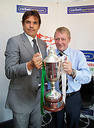 RHYL, WALES - Tuesday, August 20, 2013:Wales team manager Chris Coleman and Mike Corbett of Corbett Sports help launch the Corbett Sports Welsh Premier League at Rhyl Football Club. (Pic by David Rawcliffe/Propaganda)