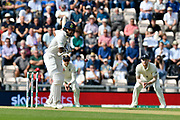 Shikhar Dhawan of India faces the first ball of the day from James Anderson of England during day two of the fourth SpecSavers International Test Match 2018 match between England and India at the Ageas Bowl, Southampton, United Kingdom on 31 August 2018.