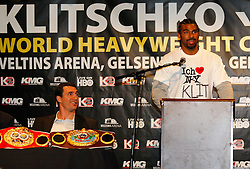 Apr 23, 2009; New York, NY, USA; David Haye speaks at the press conference announcing his upcoming fight against IBF, WBO and IBO World Heavyweight Champion Wladimir Klitschko (l).  The two will meet on June 20, 2009 at Veltins-Arena Soccer Stadium in Schalke, Germany.