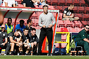 Macclesfield Town manager Daryl Mcmahon during the EFL Sky Bet League 2 match between Swindon Town and Macclesfield Town at the County Ground, Swindon, England on 14 September 2019.