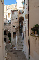 street view inside Sperlonga historic ciiy center, Italy, Latium