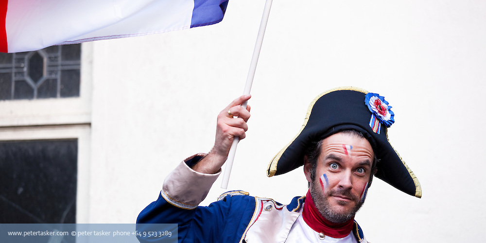 Portrait of French supporter waving flag, Rugby World Cup, RWC 2011 Auckland, New Zealand.