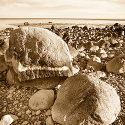 Boulders on the beach on Cape Cod Bay at the Center Hill Preserve in Plymouth, Massachusetts. Wildlands Trust of Southeastern Massachusetts.