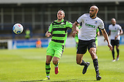 Forest Green Rovers Rhys Murphy (39) & Dovers Richard Orlu during the Vanarama National League match between Dover Athletic and Forest Green Rovers at Crabble Athletic Ground, Dover, United Kingdom on 10 September 2016. Photo by Shane Healey.