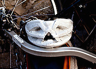 A funny looking bicycle helmet. WATERMARKS WILL NOT APPEAR ON PRINTS OR LICENSED IMAGES.