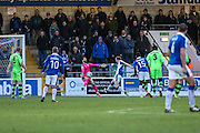 Forest Green Rovers goalkeeper Sam Russell(23) makes a save from Chester's Tom Shaw(8) during the FA Trophy 2nd round match between Chester FC and Forest Green Rovers at the Deva Stadium, Chester, United Kingdom on 14 January 2017. Photo by Shane Healey.