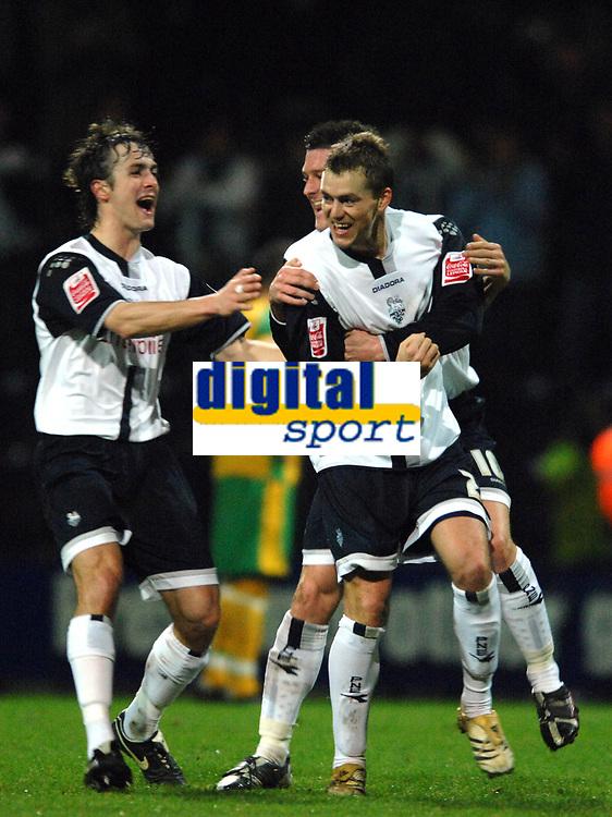 Photo: Paul Greenwood.<br />Preston North End v Norwich City. Coca Cola Championship. 20/02/2007. Preston's Pavel Pergl, centre, celebrates with Danny Pugh, left and David Nugent
