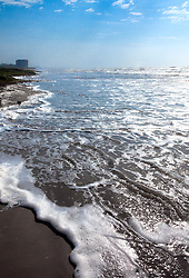 Surf, Spanish Grant development, West Beach, Galveston Island, Texas Gulf Coast.