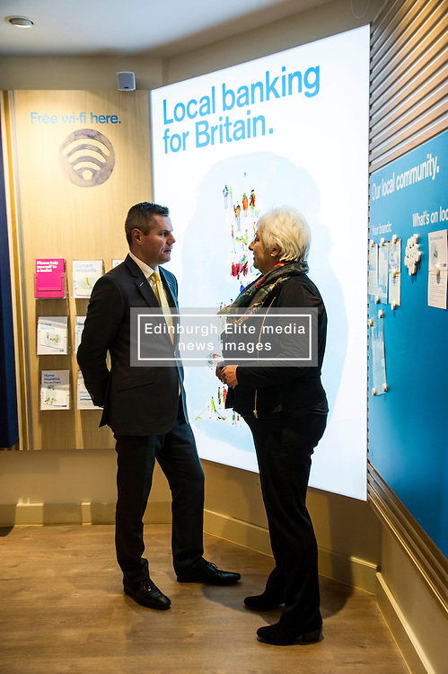 Pictured: Derek Mackay met Branch Distribution director, Carol Anderson<br /> <br /> Today, Finanace Secretary Derek Mackay opened the newly refurbished TSB branch on Hanover Street in Edinburgh.  Mr Mackay met with staff and customers and toured the facilities. <br /> <br /> Ger Harley | EEm 18 Novcember 2016