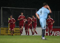 Vauz Franz Burgmeier (middle) cele scoring the second goal.<br /> Vaduz 2 v 0 Falkirk FC at the Rheinpark Stadium for their Europa League second-round qualifier against Vaduz in Liechtenstein.<br /> ©2009 Michael Schofield. All Rights Reserved.