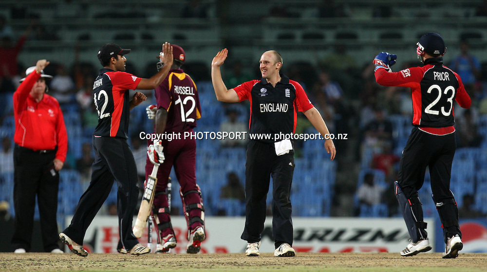 England players James Tredwell celebrates with team mates West Indies batsman   Andre Russell wicket during the ICC Cricket World Cup - 36th Match, Group B England vs West Indies Played at MA Chidambaram Stadium, Chepauk, Chennai (neutral venue) 17 March 2011 - day/night (50-over match)
