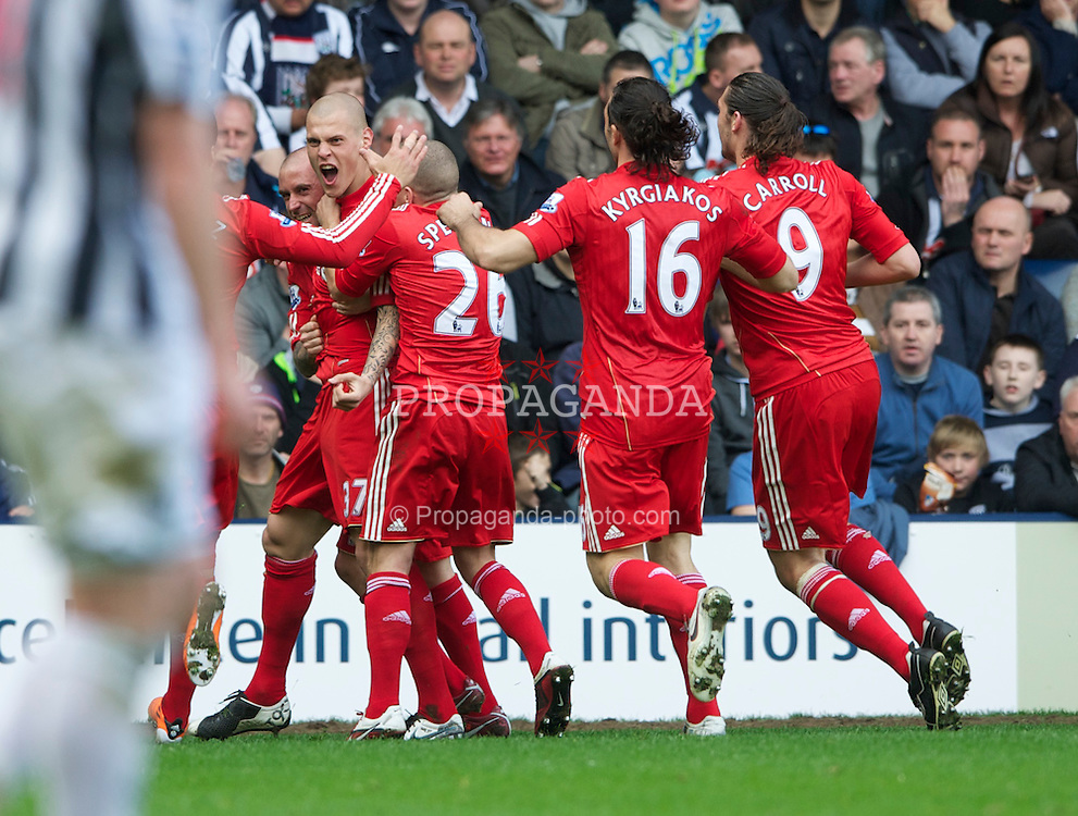 WEST BROMWICH, ENGLAND - Saturday, April 2, 2011: Liverpool's Martin Skrtel celebrates scoring his side's opening goal against West Bromwich Albion with team-mates Luis Suarez, Jay Spearing, Sotirios Kyrgiakos and Andy Carroll during the Premiership match at The Hawthorns. (Photo by Dave Kendall/Propaganda)