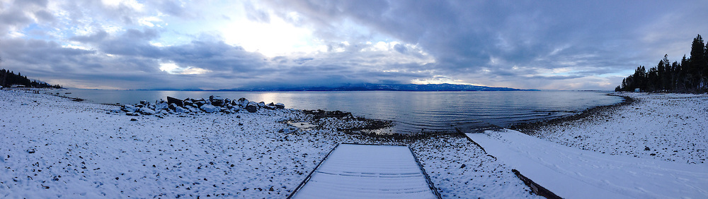 Panorama of Flathead Lake from the boat launch on a wintry day