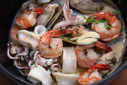 Seafood Bouillabaisse with shrimps, calamari and mussel