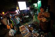 Sanlitun bar street nightlife district. Fast food stall.