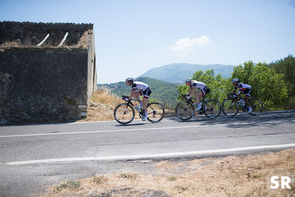 Team Sunweb riders are lead by Sabrina Stultiens (NED) on a descent on Stage 8 of the Giro Rosa - a 141.8 km road race, between Baronissi and Centola fraz. Palinuro on July 7, 2017, in Salerno, Italy. (Photo by Balint Hamvas/Velofocus.com)