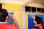 Gabriele Guerrini and Dr. Hussein Okail inspect damage at a secondary school in Mexicali. A group of researchers led by Dr. Benson Shing, Vice Chair of the Department of Structural Engineering at the University of California, San Diego, inspected the earthquake damage in Mexicali, Mexico, April 7, 2010. A 7.2 magnitude earthquake in Baja California on Easter Sunday was felt as far away as Los Angeles.