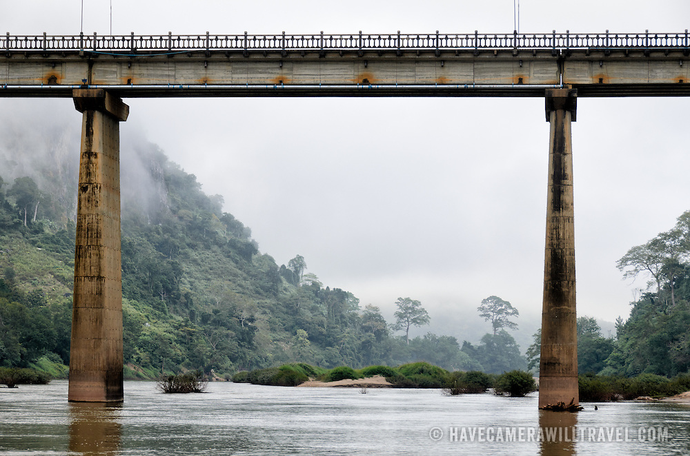 The high bridge spanning the Nam Ou (River Ou) in Nong Khiaw in northern Laos.