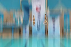 August 23, 2017- Tianjin, China - CHEN AISEN of Guangdong and YANG HAO of Shaanxi compete during the men's 10m platform synchronised final of Diving at the 13th Chinese National Games in north China's Tianjin Municipality. Chen Aisen and Yang Hao claimed the title with 496.95 points. (Credit Image: © Fei Maohua/Xinhua via ZUMA Wire)