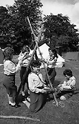 300 Girl Guides At Larch Hill.  (R84)..1988..25.07.1988..07.25.1988..25th July 1988..As part of the Diamond Jubilee celebrations the girl guide movement organised a friendship camp for 300 girls.The friendship camp was set up in the grounds of Larch Hill, Tibradden,Co Dublin. The camp will run from 23rd July to 30th July...Image shows some of the guides constructing a tripod frame.