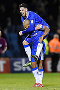 Gillingham FC forward Josh Parker (14) celebrates with team mate Gillingham FC forward Conor Wilkinson (10) during the EFL Sky Bet League 1 match between Gillingham and Bury at the MEMS Priestfield Stadium, Gillingham, England on 11 November 2017. Photo by Martin Cole.