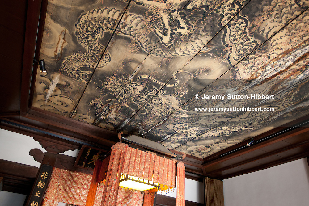 A 340year old painting of a dragon on the ceiling in the Kanga-an temple, where there is a restaurant serving Shojin-ryori cuisine (a cuisine eaten mainly by Buddhist followers), in Kyoto, Japan, on Friday 13th January 2012.
