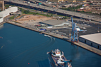 Aerial Phhotography of passenger ship approaching Port of Baltimore cruise terminal on inaugural sail