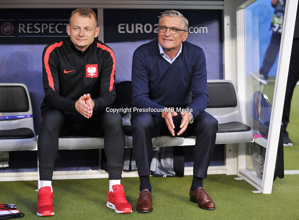 2016.06.16 Saint-Denis<br /> Football UEFA Euro 2016 group C game between Poland and Germany<br /> Bogdan Zajac, Adam Nawalka trener Head Coach<br /> Credit: Lukasz Laskowski / PressFocus