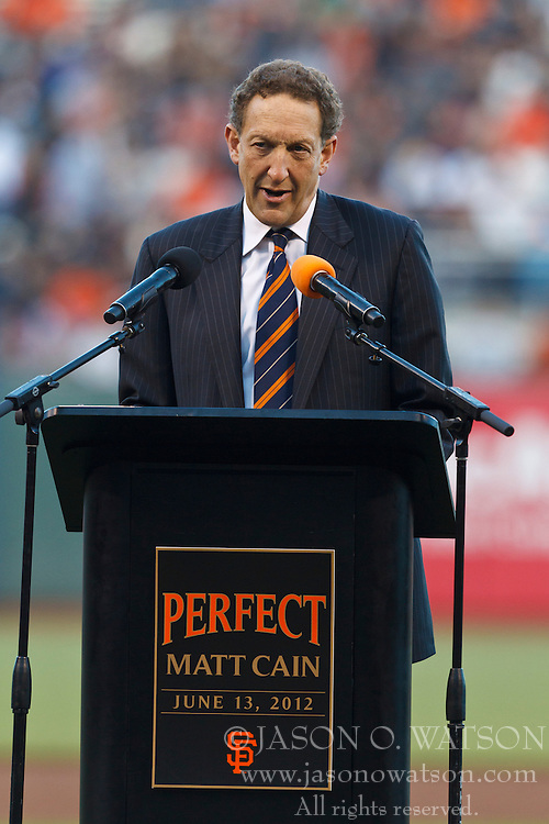 SAN FRANCISCO, CA - AUGUST 10: San Francisco Giants team CEO Larry Baer speaks during a ceremony honoring the perfect game pitched by Matt Cain #18 (not pictured) on June 13, 2012  before the game against the Colorado Rockies at AT&T Park on August 10, 2012 in San Francisco, California. The Colorado Rockies defeated the San Francisco Giants 3-0. (Photo by Jason O. Watson/Getty Images) *** Local Caption *** Larry Baer