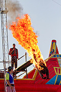 "A burning stunt man dives into water during the ""Pirate Ship"" children's play at the 2011 Kentucky state fair. Kentucky, USA"