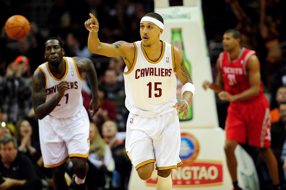 Feb. 23, 2011; Cleveland, OH, USA; Cleveland Cavaliers small forward Jamario Moon (15) celebrates as he makes his way down court during the first quarter against the Houston Rockets at Quicken Loans Arena. Mandatory Credit: Jason Miller-US PRESSWIRE