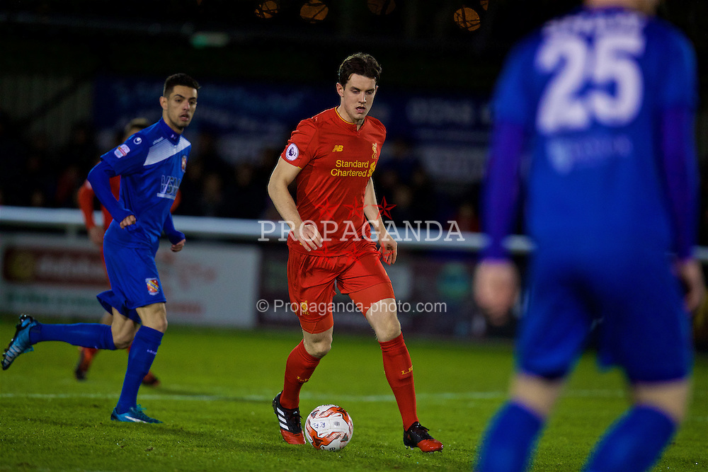 BANGOR, WALES - Wednesday, January 4, 2017: Liverpool's Jordan Williams in action against Bangor City during an Under-23 friendly match at Bangor University Stadium. (Pic by David Rawcliffe/Propaganda)