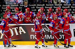 Danis Zaripov of Russia, Alexei Morozov of Russia, Sergei Zinoviev of Russia and Nikolai Belov of Russia during ice-hockey match between Russia and Denmark of Qualifications at IIHF 2011 World Championship Slovakia, on May 5, 2011 in Orange Arena, Bratislava, Slovakia. Russia defeated Denmark 4-3. (Photo By Vid Ponikvar / Sportida.com)