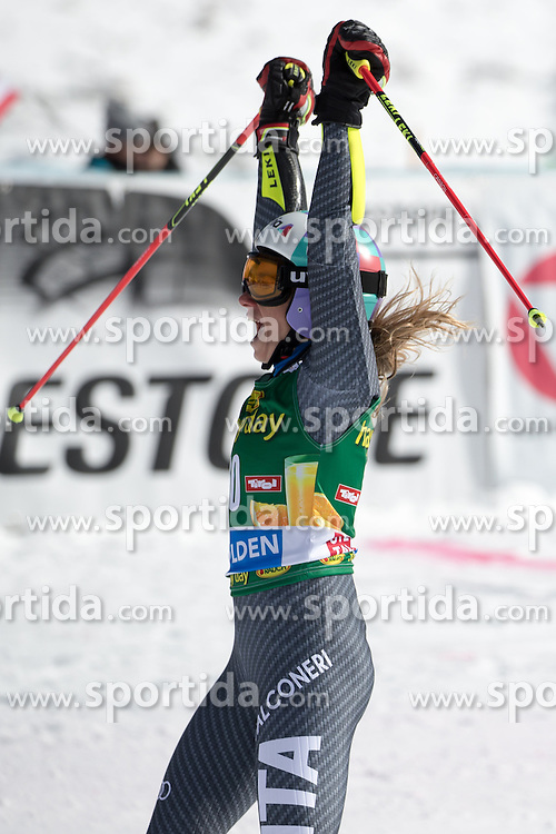 22.10.2016, Rettenbachferner, Soelden, AUT, FIS Weltcup Ski Alpin, Soelden, Riesenslalom, Damen, 2. Durchgang, im Bild Marta Bassino (ITA, 3. Platz) // reacts after her 2nd run of ladies Giant Slalom of the FIS Ski Alpine Worldcup opening at the Rettenbachferner in Soelden, Austria on 2016/10/22. EXPA Pictures © 2016, PhotoCredit: EXPA/ Johann Groder
