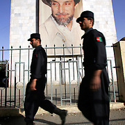 07 October 2004&#xD;&#xA;Kabul, Afghanistan.&#xD;&#xA;Election preparations in Afghanistan.&#xD;&#xA;&#xD;&#xA;A painting of Massoud, looks down from a building in centeral Kabul. With fears of violent dissruption worrying candidates and voters alike Afghanistans security forces are becoming more and more visible on the streets of the capital.&#xD;&#xA;<br />