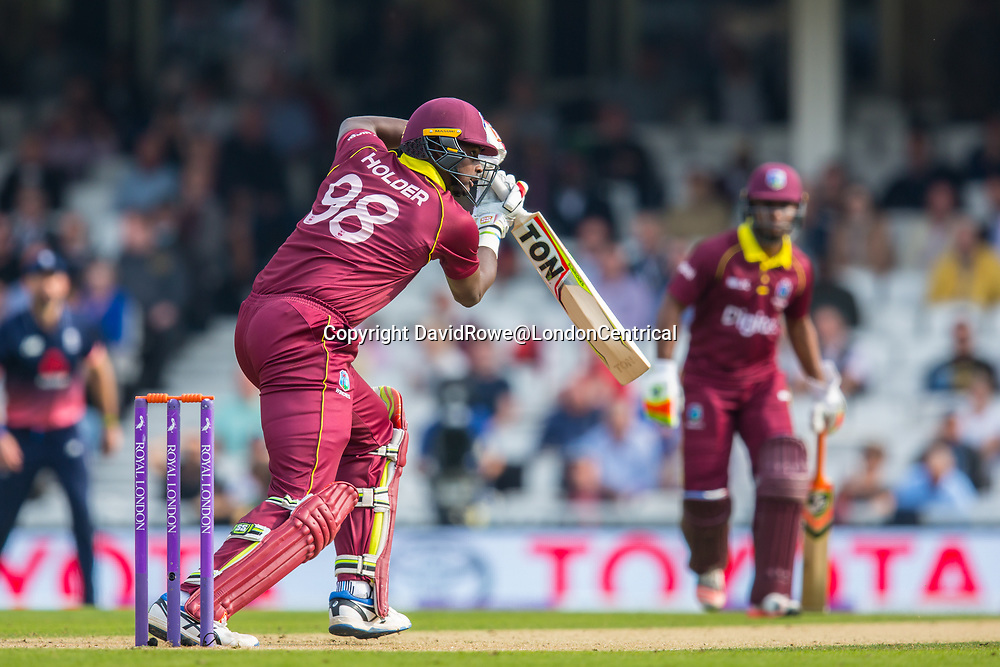 London,UK. 27 September 2017. Jason Holder batting for the West Indies. England v West Indies. In the fourth Royal London One Day International at the Kia Oval.